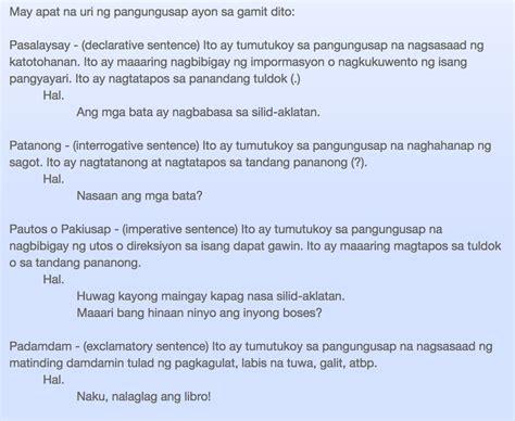 filipino uri ng pangungusap ayon sa gamit