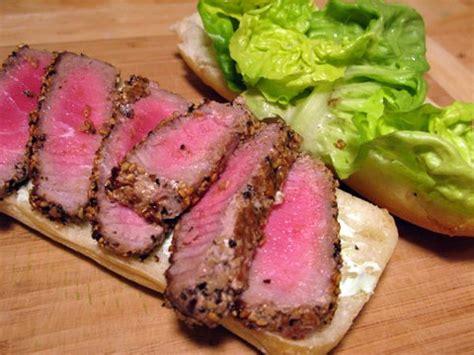 seared tuna peppered tuna skewers with wasabi mayonnaise recipe dishmaps