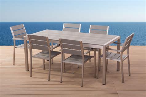 table chaise de jardin beliani aluminium meuble de jardin vernio polywood table 180 cm 6 chaises fr