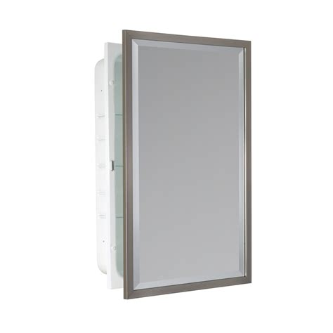 lowes medicine cabinets brushed nickel shop allen roth 16 in x 26 in rectangle recessed