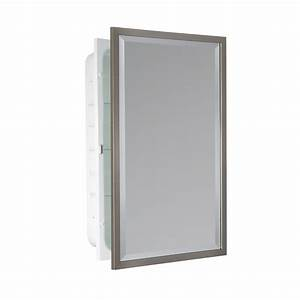 shop allen roth 16 in x 26 in rectangle recessed With kitchen cabinets lowes with rectangular metal wall art
