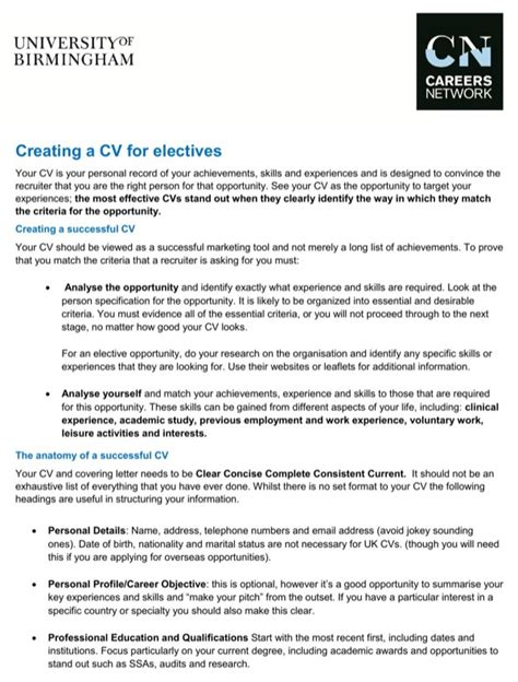 Creating A Cv For Free by Creating A Cv For Electives For Free Formtemplate
