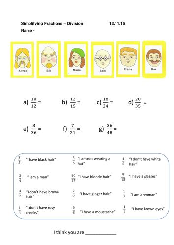 guess who equivalent and simplifying fractions worksheets by misshammersley teaching resources