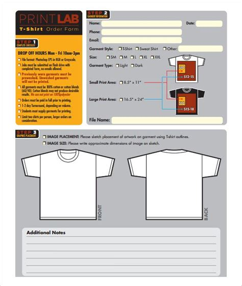 shirt order form template   word  format