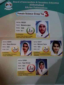 Abbottabad Board Top 20 Position Holders Of Matric  Ssc