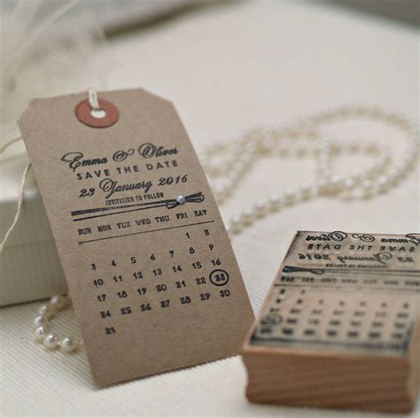 Personalised Calendar Save The Date Stamp By Pretty Rubber ...