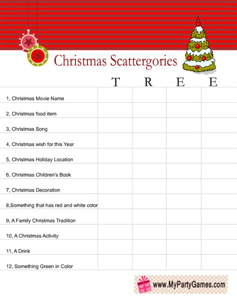 christmas games in office free printable scattergories inspired