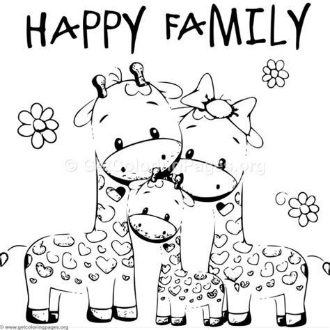 giraffe family coloring pages