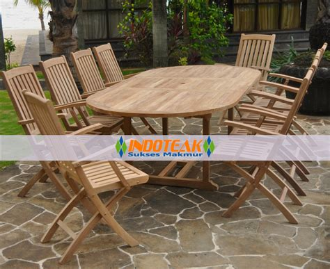 teak oval extension table and folding arm chair sets
