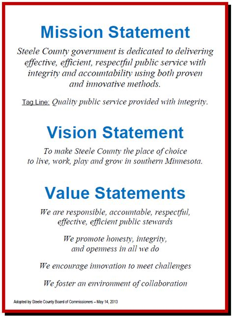 mission statement template vision statement exles alisen berde