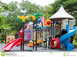 Dirty Children Playground Equipment In A Park Stock Photo ...