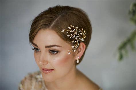 modern romantic wedding hairstyles  short hair