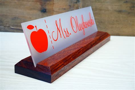 acrylic desk name plates acrylic teacher desk name plate with wood plaque personalized