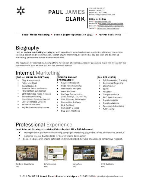 social media marketing resume ideas social media