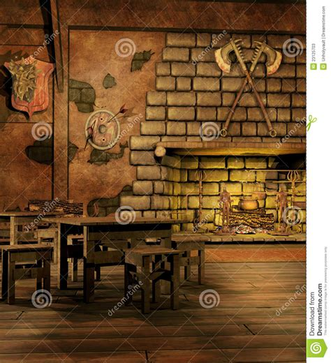 fantasy tavern   fireplace stock illustration image