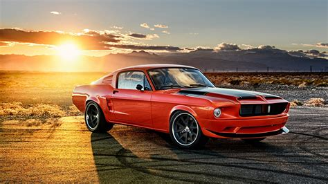 Wallpaper Ford Mustang 1968 Red Sunrises And Sunsets Cars