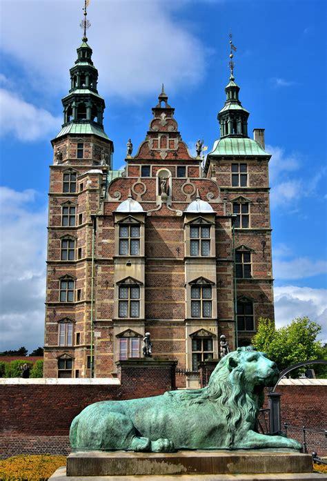 Rosenborg Castle And Resting Lion In Copenhagen Denmark