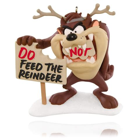 looney tunes feed the reindeer tasmanian devil ornament