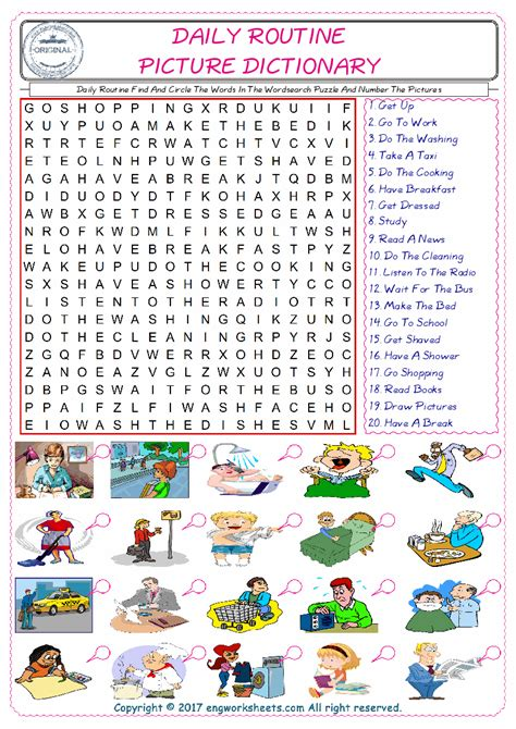 daily routine find and circle the words in the wordsearch