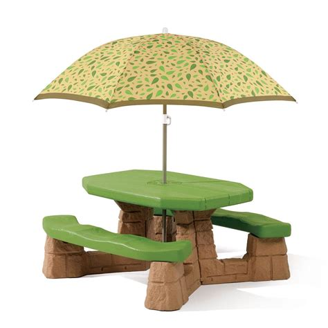 step 2 table with umbrella step 2 naturally playful picnic table with umbrella set