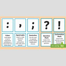 Punctuation Marks And Explanation Matching Cards  Punctuation, English