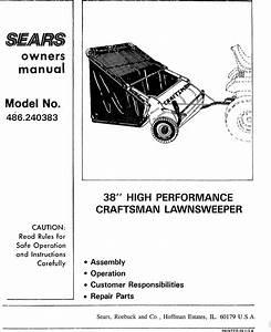 Craftsman 486240383 User Manual 38 Lawn Sweeper Manuals