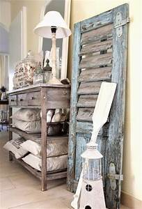 Charming coastal interior decorating with shutters
