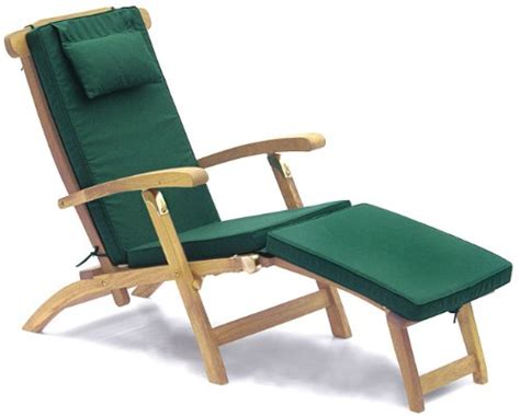 serenity teak steamer chair with cushion green fully