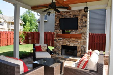 Outdoor Living Room And Fireplace