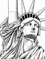 Liberty Statue Drawing York Coloring Easy Drawings Sketches Adult Head Skyline Cartoon Step Sketch Printable Outline Directed Buildings Places Face sketch template