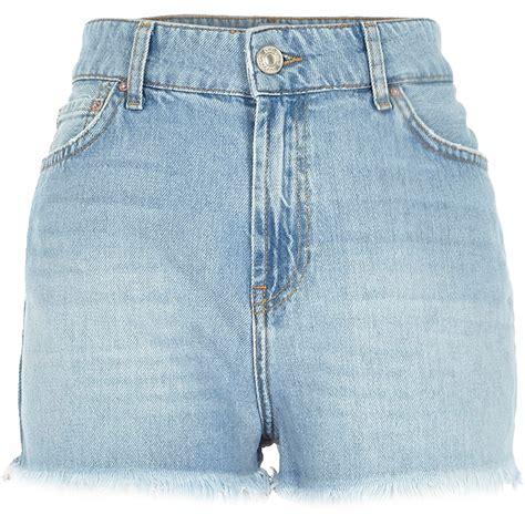 light blue jean shorts lyst river island light wash high rise darcy denim