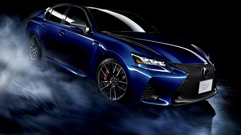 Lexus Gs F Blue Car, Smoke, Black Background Wallpaper
