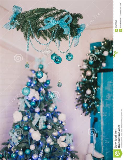christmas tree  blue  silver details