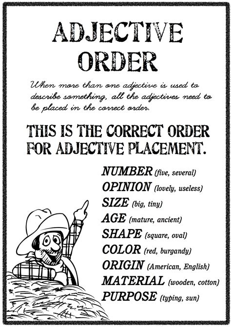adjective order free worksheets