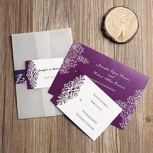 Purple vintage damask printed cheap pocket wedding for Printed pocketfold wedding invitations
