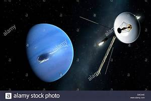 Voyager spacecraft at Neptune, artwork. Two Voyager ...