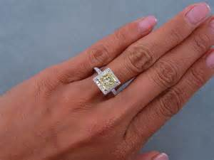 fancy engagement rings 2 87 ctw princess cut engagement ring fancy yellow si1