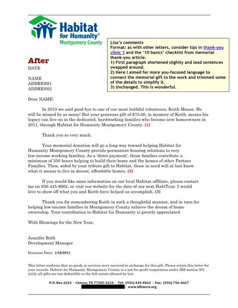 thank you letter for donation sle thank you letter donation irs 2866