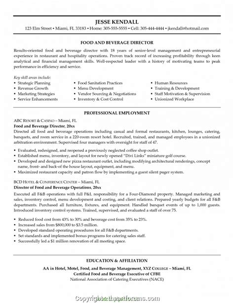 Resume F B Director by Simply F B Manager Cv Fresh Food And Beverage Manager Cv