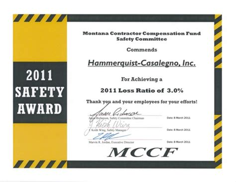 Safety Certificate Template by Safety Effort Earns Award Hammerquist Casalegno Llc