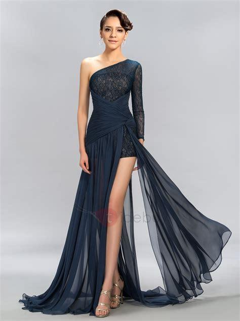 One-Shoulder Long Sleeve Lace Split Front Evening Dress ...