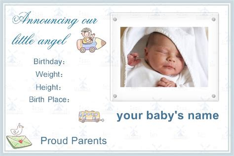 Free Baby Announcement Templates by Free Photo Templates Baby Birth Announcement