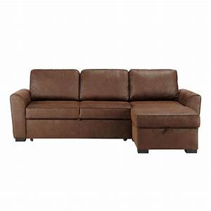 canape d39angle convertible 3 4 places en suedine marron With canapé angle 3 places