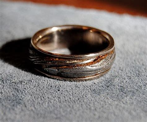 custom  palladium white gold mens ring damascus steel