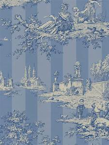 toile blue and white wallpaper