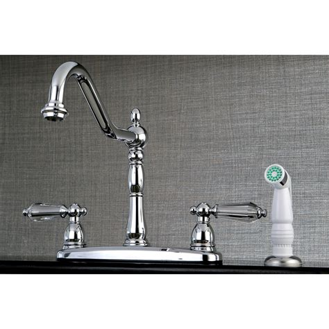 Mounted Faucet Kitchen by Kingston Brass Wilshire 2 Lever Handle Deck Mounted