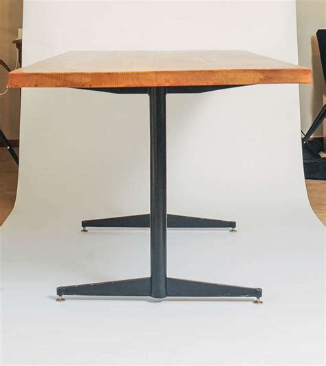 oak and steel dining table eames style dining table made of solid oak and black steel