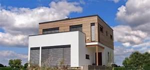 Haus Mit Holzfassade : modernes fertighaus mit flachdach vorne wei e putz fassade obergescho holzfassade gro e ~ Markanthonyermac.com Haus und Dekorationen