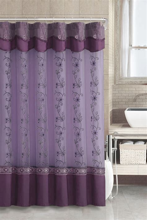 Fabric Valance by Purple Fabric Shower Curtain 2 Layered Embroidered