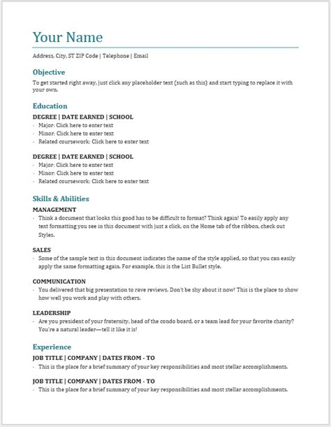 Basic Resume Template Word by Professional Creative And Modern Resume Templates Word